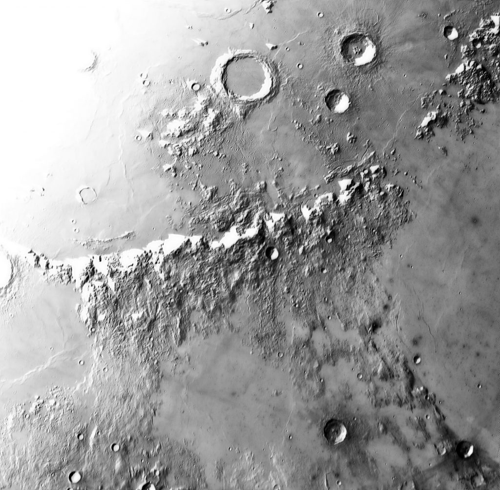 invert image of montes appeninus on the Moon